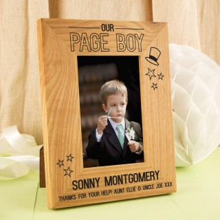 Personalised Page Boy Oak Photo Frame: Top Hat
