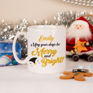 "Customised ""Merry and Bright"" Penguin Mug"