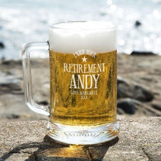 Personalised Retirement Glass Beer Tankard: Special Offer