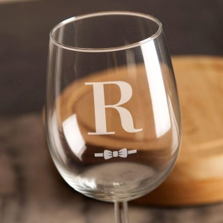 Initial Bow Tie Personalised Wine Glass