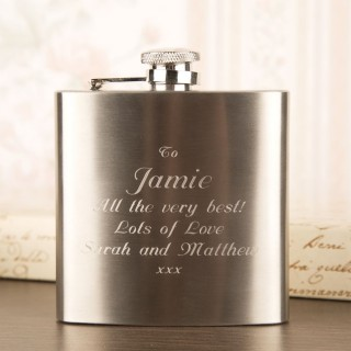 Brushed Steel Hipflask