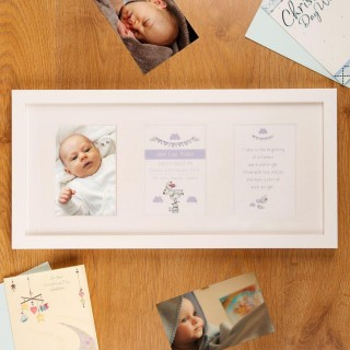Personalised Christening Baptism Bird and Font 3 Aperture Frame