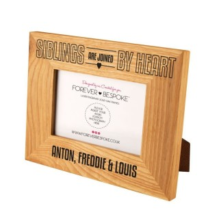 Personalised Siblings By Heart Wooden Oak Photo Frame