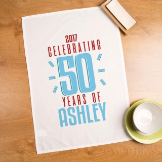 50 Years of...Customised Printed Tea Towel