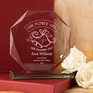 Personalised Flower Girl Cut Glass Skye Facet
