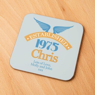 40th Birthday Established Year Drinks Coaster for Him