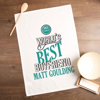Personalised Worlds Best Boyfriend Tea Towel