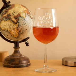 Customised Wine O Clock Wine Glass