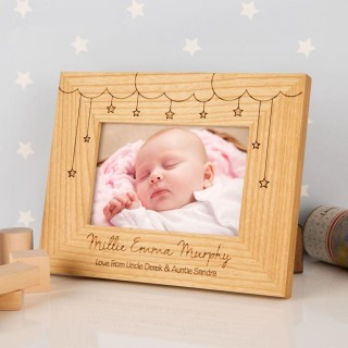 Cloud & Stars Personalised Oak Frame: Landscape
