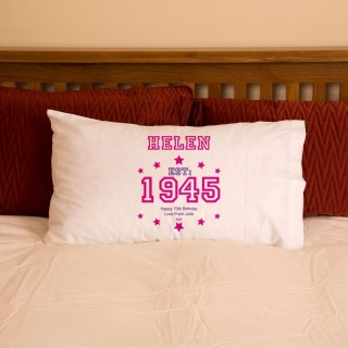 70th Birthday Established Year Pillowcase For Her