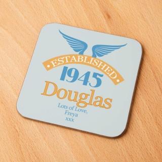 70th Birthday Established Year Drinks Coaster for Him