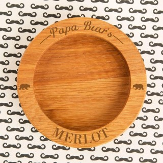 Customised Papa Bear Wooden Wine Bottle Coaster