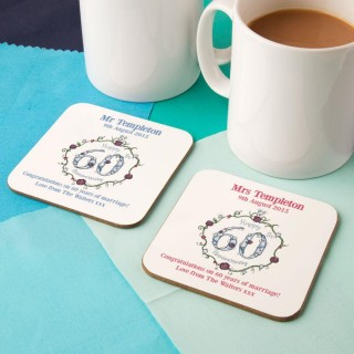 Personalised 60th Diamond Anniversary Double Coaster Set