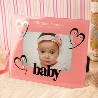 Personalised Pink Glass Christening Photo Frame