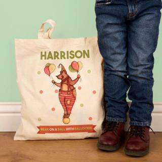 Childrens Illustrated Bear Shopper Bag