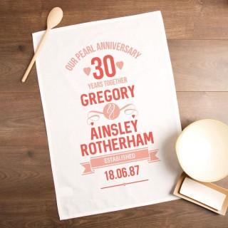 30th Pearl Wedding Anniversary Customised Tea Towel