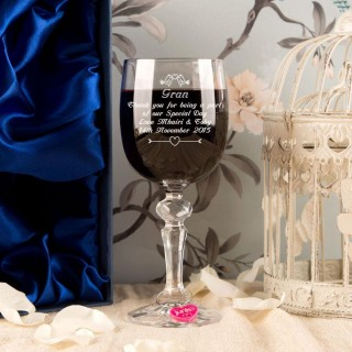 Engraved Grandmother of the Bride Bird Wine Glass With Wine Charm and Presentation Box