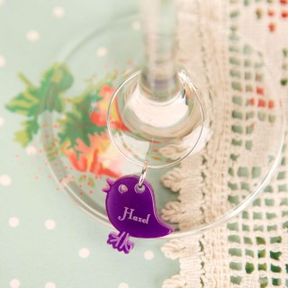 Personalised Junko Style Bird Wine Glass Charm