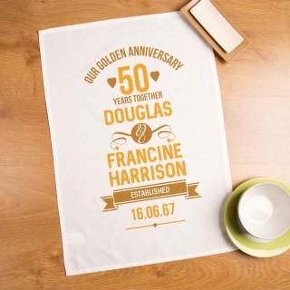 Personalised 50th Wedding Anniversary Printed Tea Towel