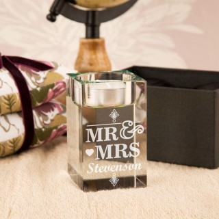 Personalised Mr & Mrs Glass Tealight Holder