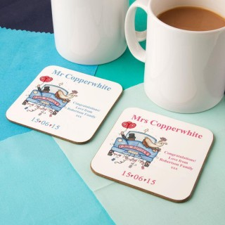Personalised Bride and Groom Double Coaster Set