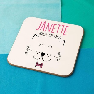 Bespoke Crazy Cat Lady Drinks Coaster