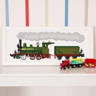 Personalised Train 1st Birthday Print in Frame