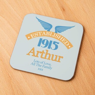 100th Birthday Established Year Drinks Coaster for Him