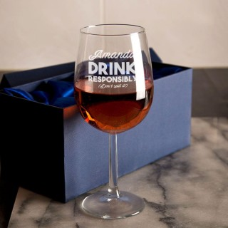 Drink Responsibly Personalised Wine Glass