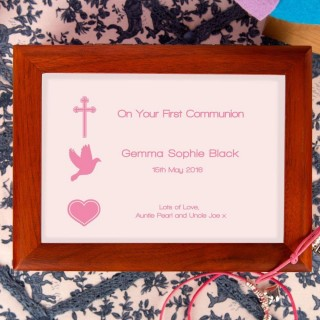1st Holy Communion Musical Jewellery Box: Pink