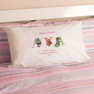 1st Birthday Illustrated Girls Name Pillowcase