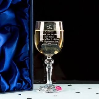 Engraved Usher Wine Glass With Wine Charm and Presentation Box