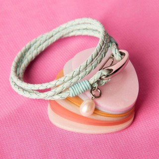 Mint Leather Wrap Round Bracelet