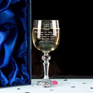 Father of the Groom Wine Glass With Wine Charm and Gift Box