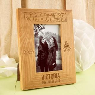 Bespoke Bon Voyage Engraved Oak Frame
