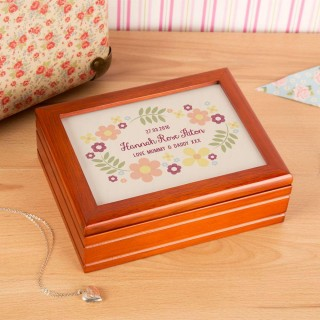 Pretty Floral Personalised Jewellery Music Box