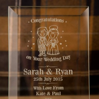 Bride & Groom Scottish Glass Plaque