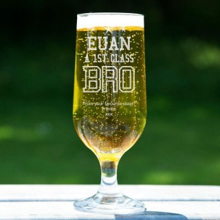 1st Class Bro Personalised Glass Beer Chalice