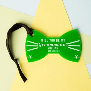 Personalised Will You Be My Groomsman Acrylic Bow Tie