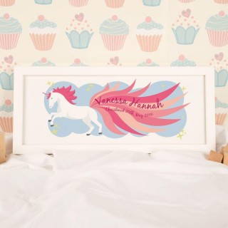Magical Unicorn Framed Christening Print