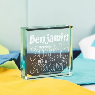 Customised No Buddy Like a Brother Glass Keepsake