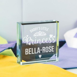 Daddys Little Princess Personalised Glass Block