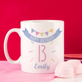 Girls 13th Birthday Bunting Mug