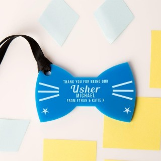 Personalised Usher Thank You Acrylic Bow Tie