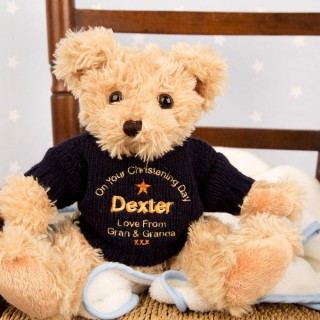 Embroidered Christening Teddy Bear: Navy Jumper