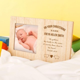Personalised Christening Photo Frame with Engraved Bible Verse
