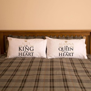 King and Queen Of My Heart Double Pillowcase Set