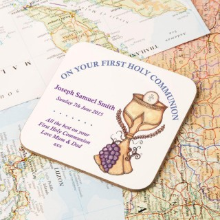 Personalised First Holy Communion Eucharist Coaster