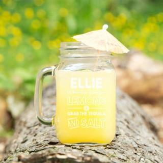 Customised Lemons Glass Mason Jar