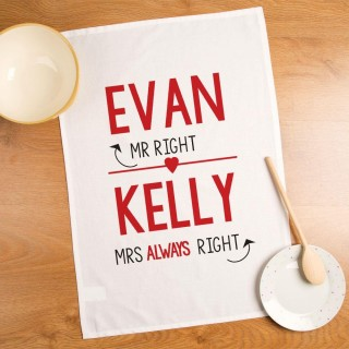 Customised Mr & Mrs Right Tea Towel